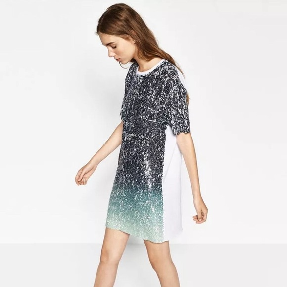 4146635dd7 zara trafaluc ombre sequin T-shirt dress